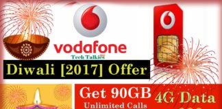 Vodafone Diwali [2017] Offer Get 90GB 4G Data