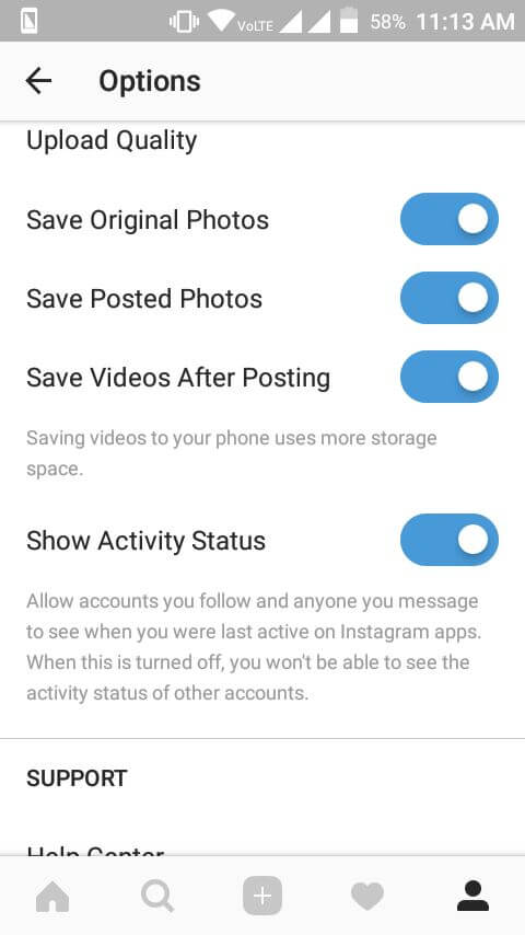 Turn off Last Active Online Status on Instagram
