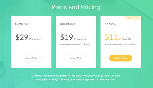 Grammalry Premium Subscription Plans and Pricing