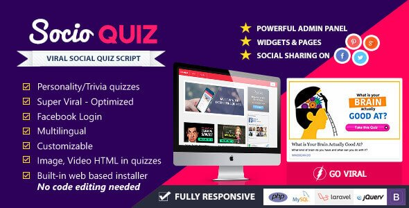 Free Download SocioQuiz v.2.0 – Viral Quiz website script by Codecanyon