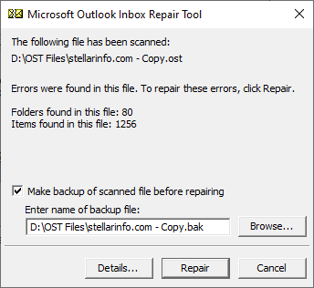 Make a backup of scanned file before repairing