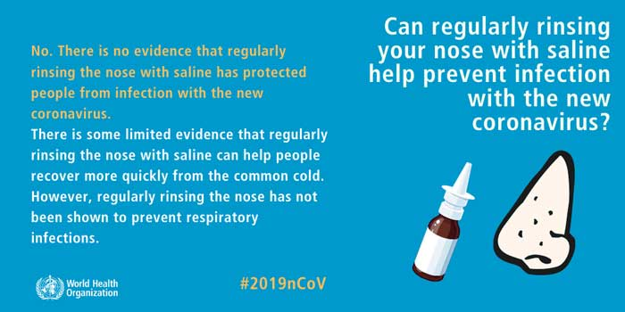 Can regularly rinsing your nose with saline help prevent infection with the new coronavirus