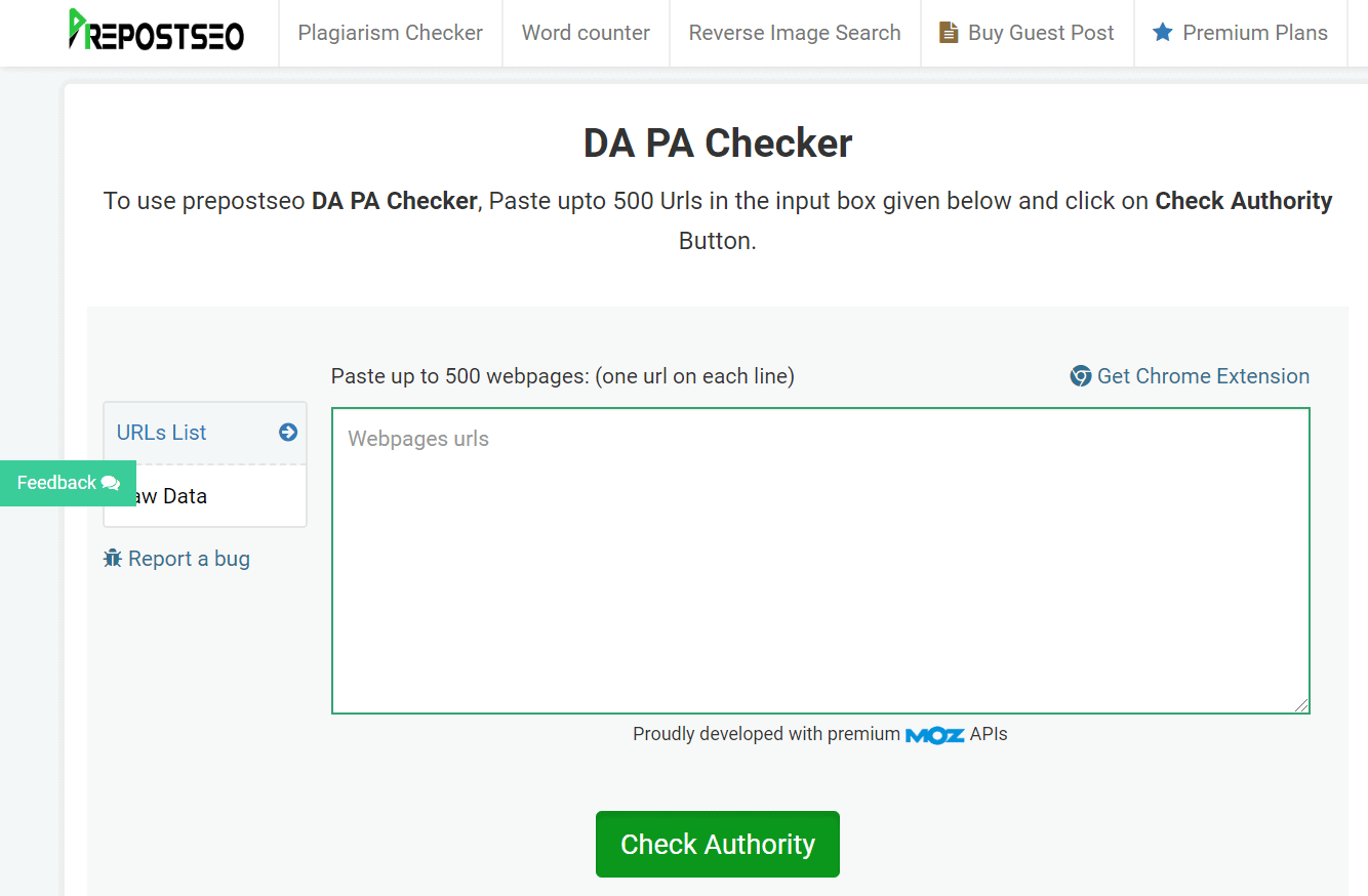 Useful Page Authority and Domain Authority Checker
