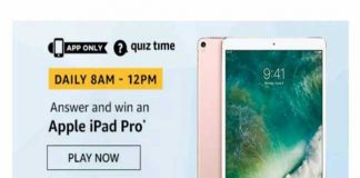 Amazon Apple iPad Pro Quiz –  Answer and Win Apple iPad Pro